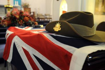 australian army hat on coffin