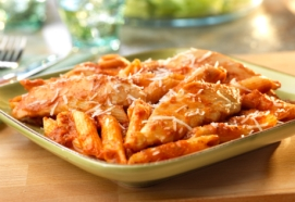 chicken pasta with tomato sauce and cheese