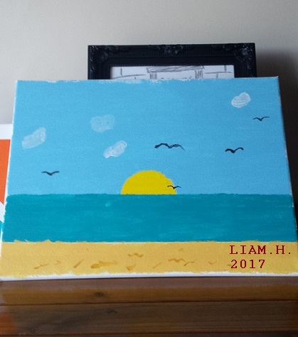 Liam painting The Ocean sunrise_01_2017