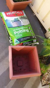 Potting mix and empty pot