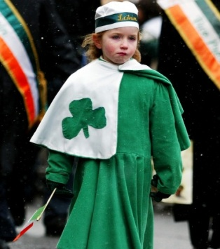 little girl in st patrick colours
