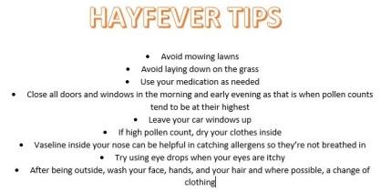 Hayfever tips