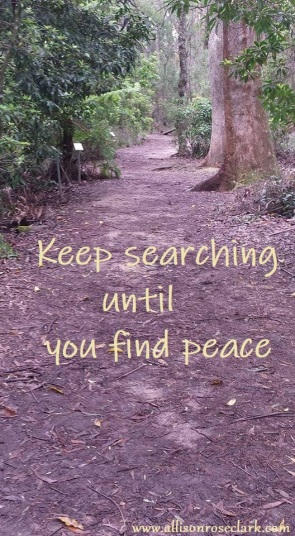 keep searching until you find peace